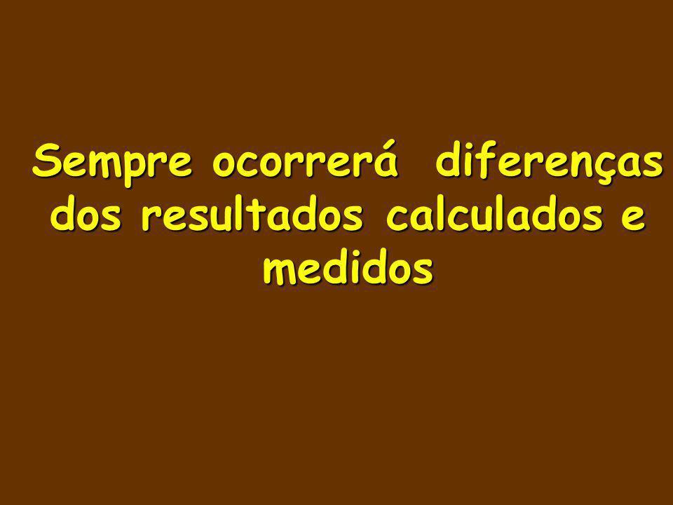Sempre ocorrerá diferenças dos resultados calculados e medidos