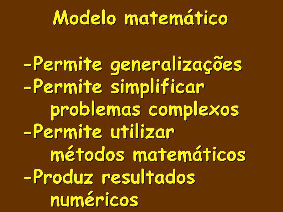 Modelo matemático -Permite generalizações. -Permite simplificar problemas complexos. -Permite utilizar métodos matemáticos.