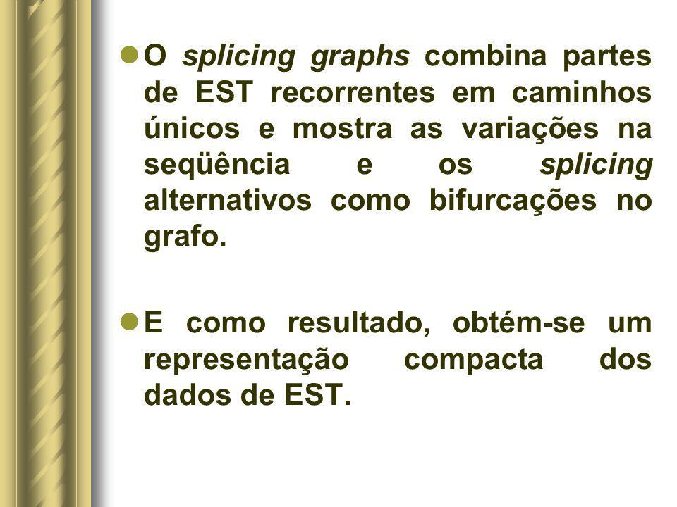 O splicing graphs combina partes de EST recorrentes em caminhos únicos e mostra as variações na seqüência e os splicing alternativos como bifurcações no grafo.