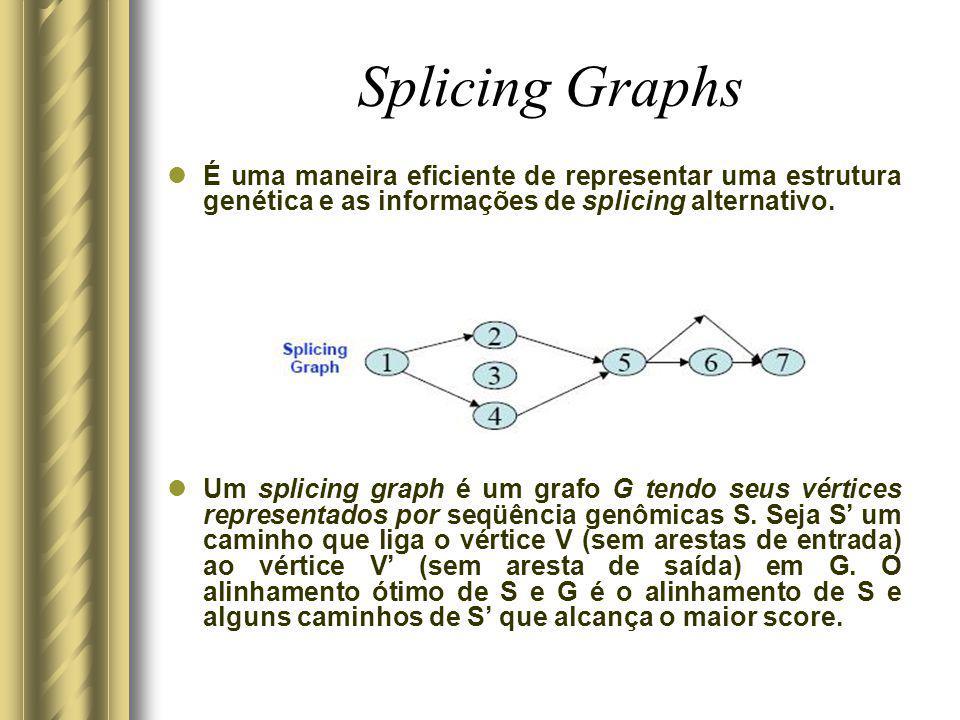 Splicing Graphs É uma maneira eficiente de representar uma estrutura genética e as informações de splicing alternativo.