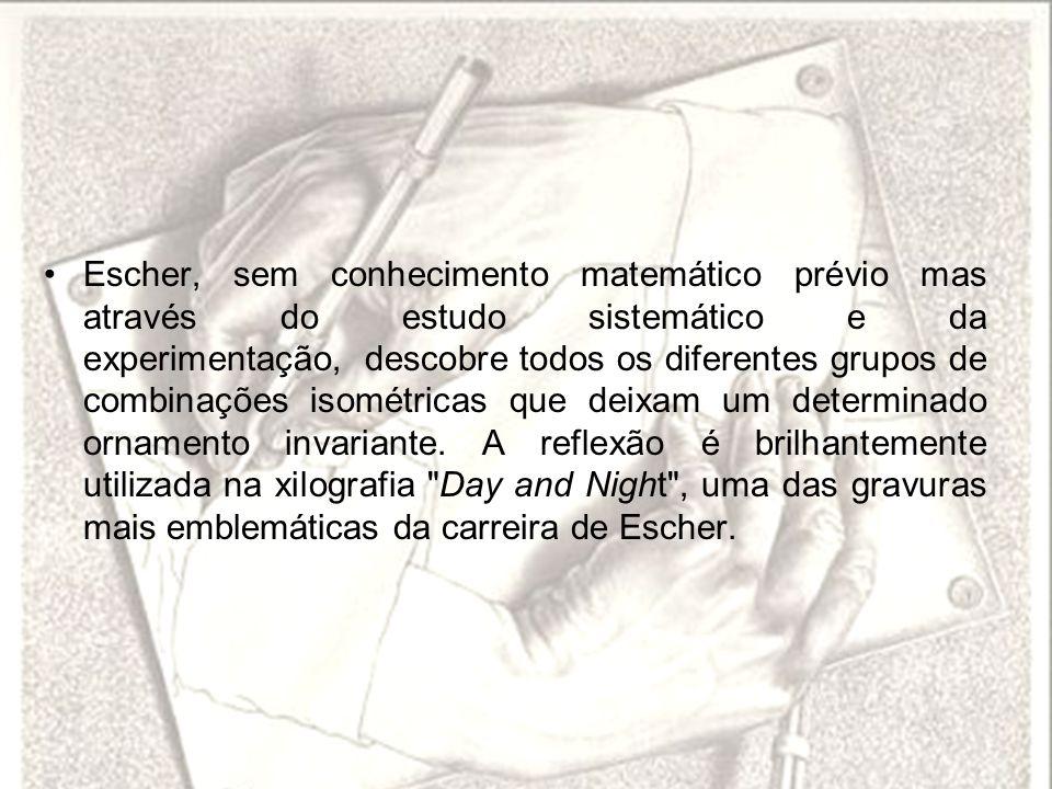 Escher, sem conhecimento matemático prévio mas através do estudo sistemático e da experimentação, descobre todos os diferentes grupos de combinações isométricas que deixam um determinado ornamento invariante.