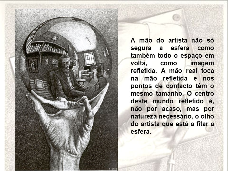 A mão do artista não só segura a esfera como também todo o espaço em volta, como imagem refletida.