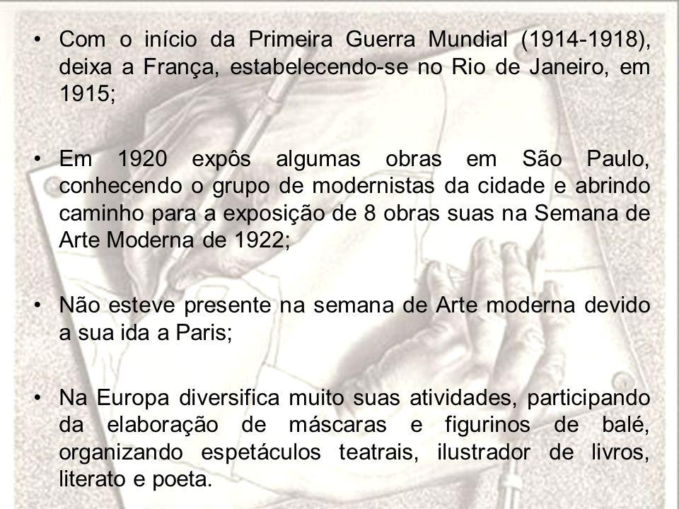 Com o início da Primeira Guerra Mundial (1914-1918), deixa a França, estabelecendo-se no Rio de Janeiro, em 1915;