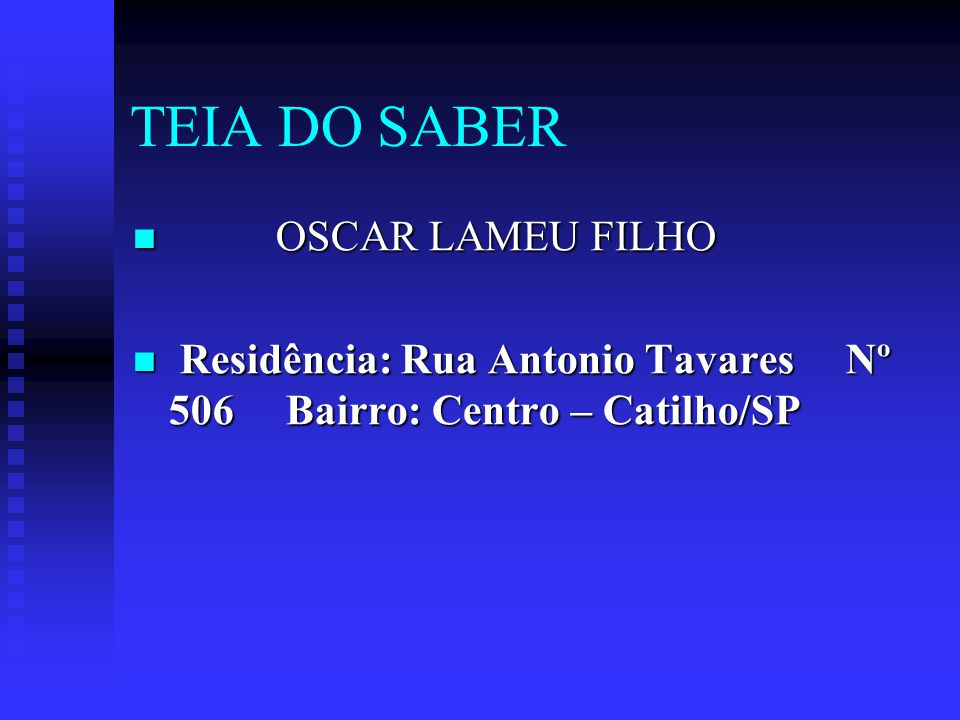 TEIA DO SABER OSCAR LAMEU FILHO