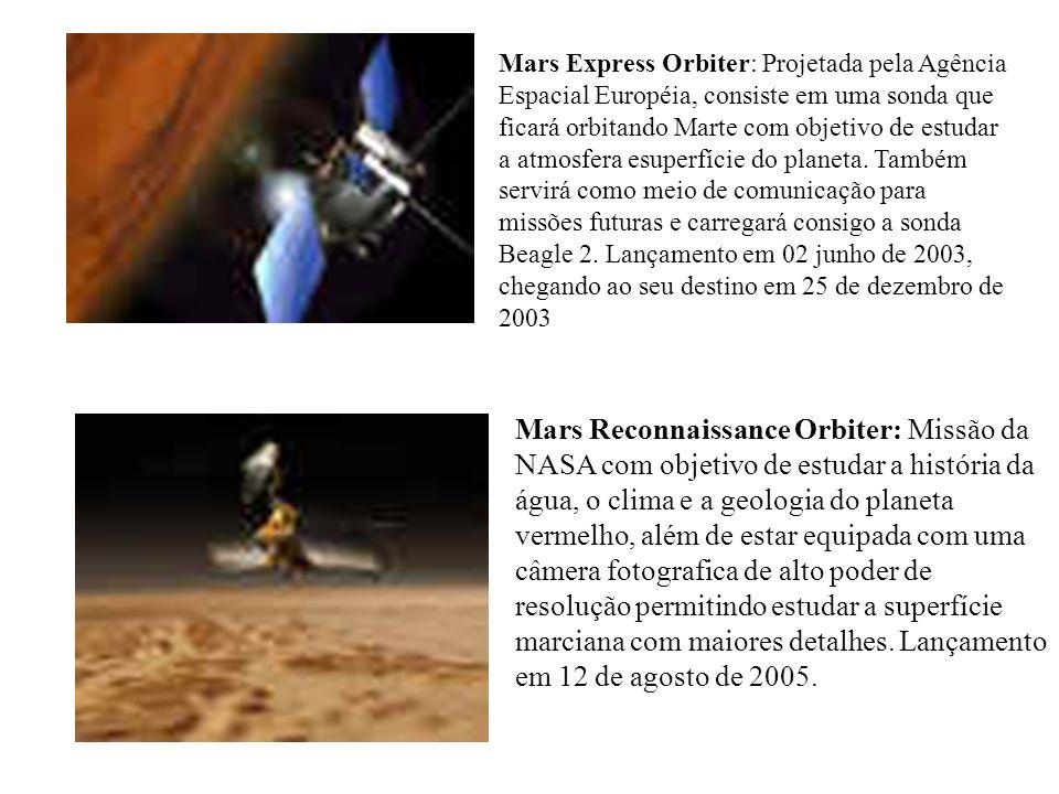 Mars Express Orbiter: Projetada pela Agência Espacial Européia, consiste em uma sonda que ficará orbitando Marte com objetivo de estudar a atmosfera esuperfície do planeta. Também servirá como meio de comunicação para missões futuras e carregará consigo a sonda Beagle 2. Lançamento em 02 junho de 2003, chegando ao seu destino em 25 de dezembro de 2003