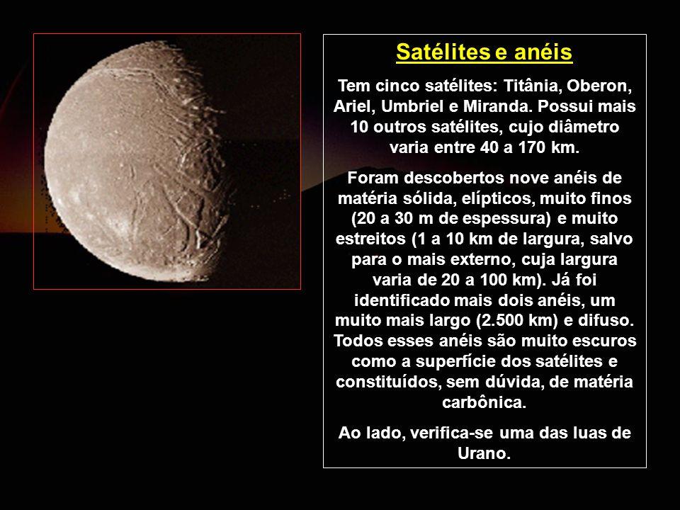 Ao lado, verifica-se uma das luas de Urano.