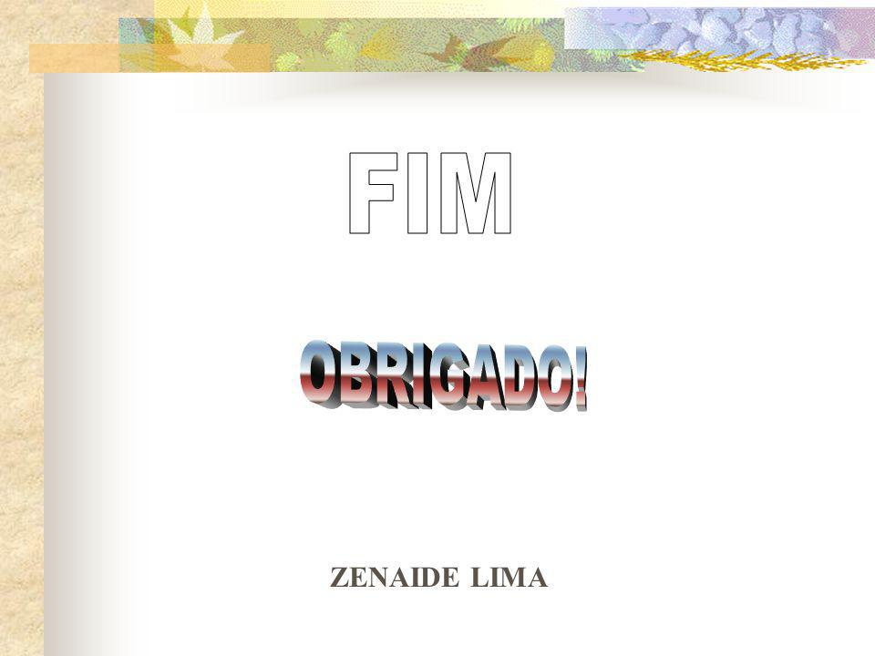 FIM OBRIGADO! ZENAIDE LIMA