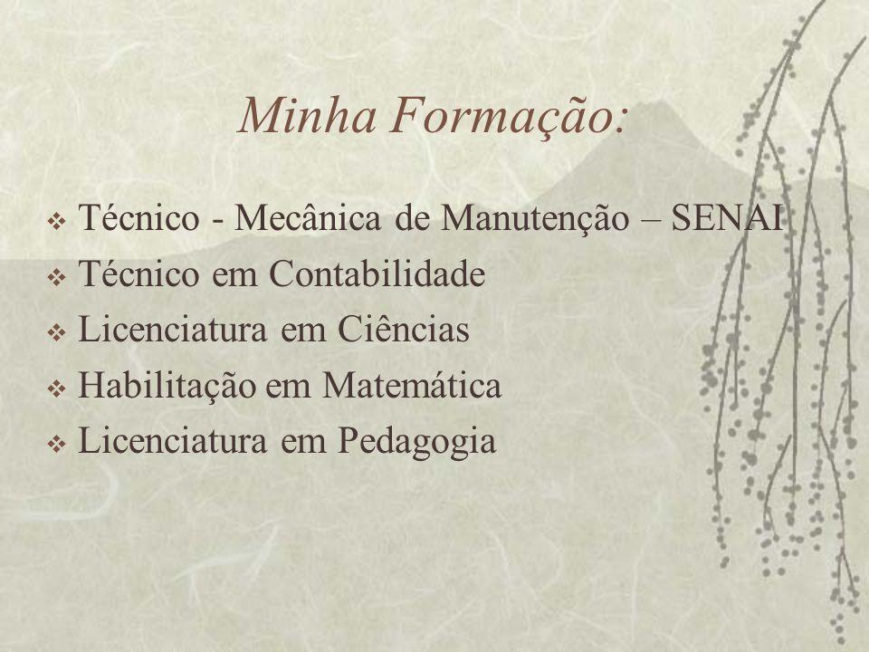 Minha Formação: Técnico - Mecânica de Manutenção – SENAI