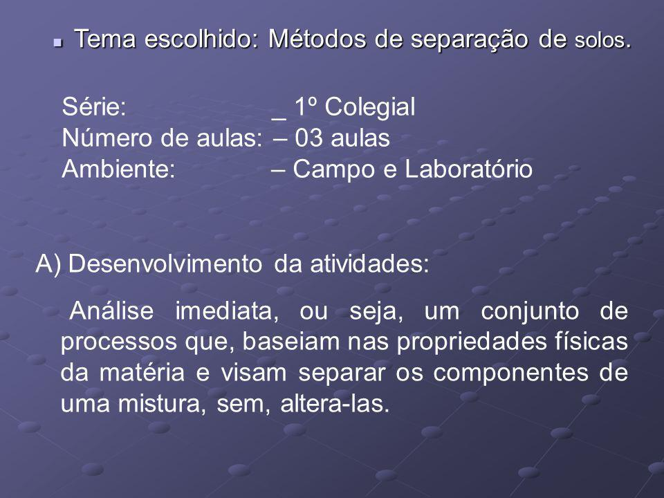 Tema escolhido: Métodos de separação de solos.
