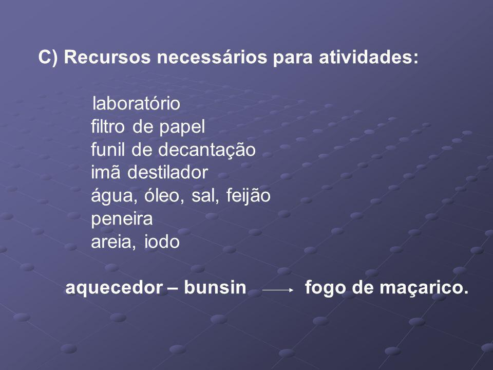 C) Recursos necessários para atividades: laboratório filtro de papel funil de decantação imã destilador água, óleo, sal, feijão