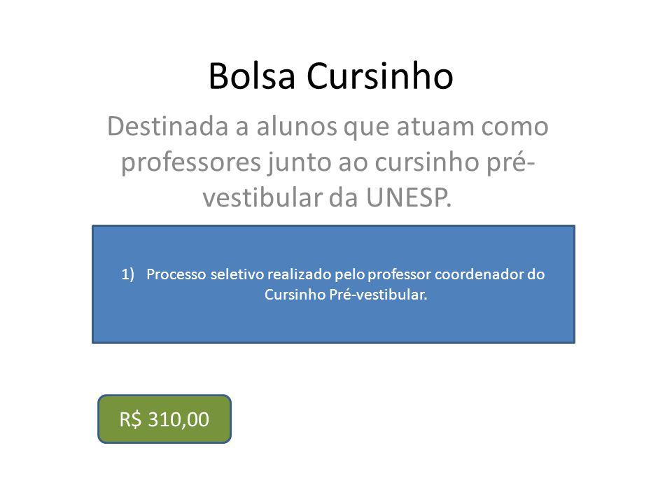 Bolsa Cursinho Destinada a alunos que atuam como professores junto ao cursinho pré-vestibular da UNESP.