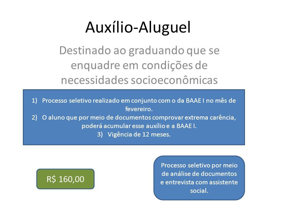 Auxílio-Aluguel Destinado ao graduando que se enquadre em condições de necessidades socioeconômicas.