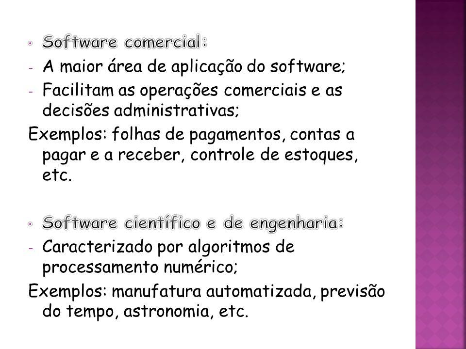 Software comercial: A maior área de aplicação do software; Facilitam as operações comerciais e as decisões administrativas;