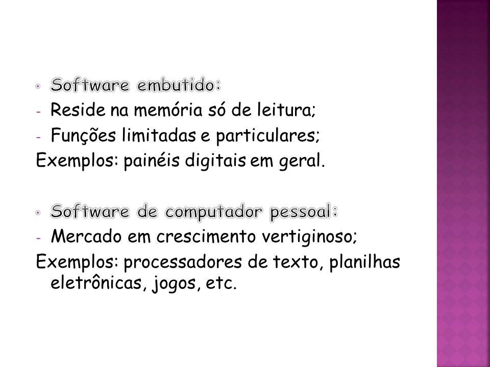 Software embutido: Reside na memória só de leitura; Funções limitadas e particulares; Exemplos: painéis digitais em geral.