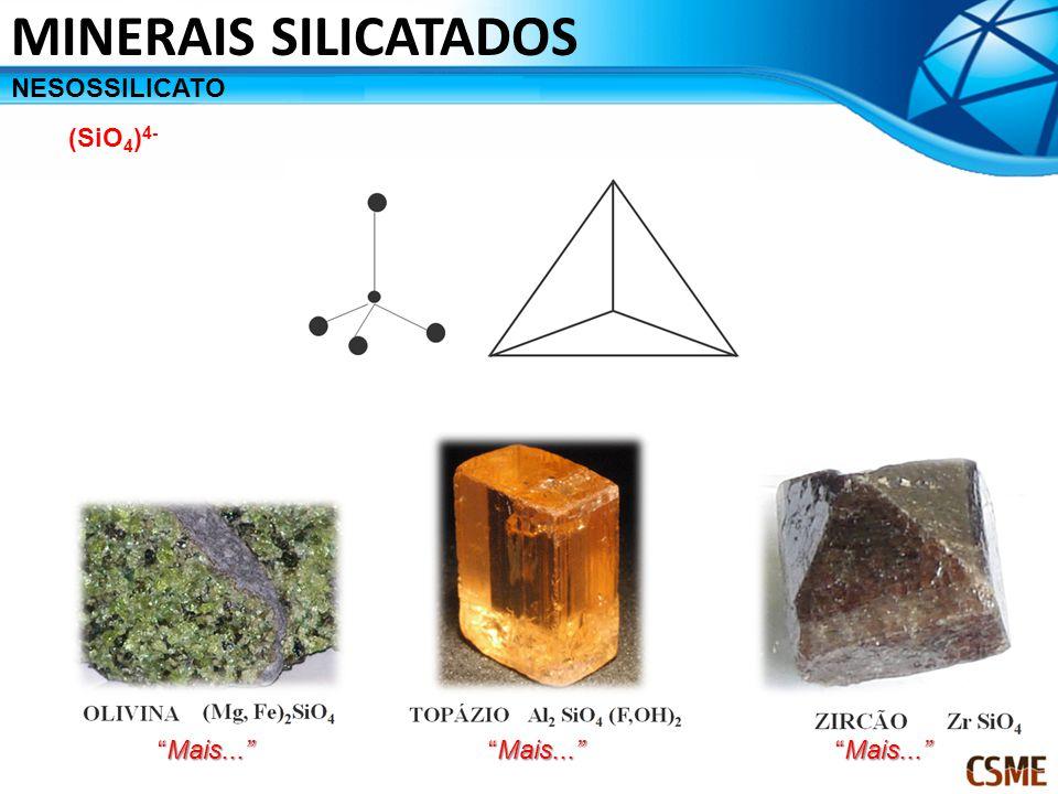 MINERAIS SILICATADOS NESOSSILICATO (SiO4)4- Mais... Mais...
