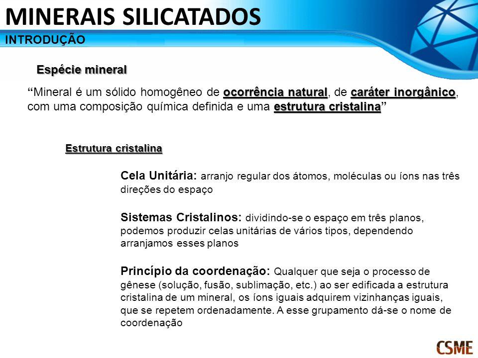 MINERAIS SILICATADOS INTRODUÇÃO Espécie mineral