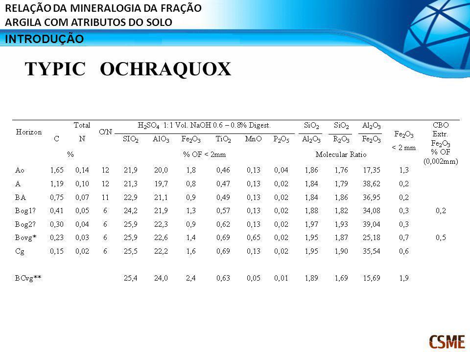 TYPIC OCHRAQUOX RELAÇÃO DA MINERALOGIA DA FRAÇÃO