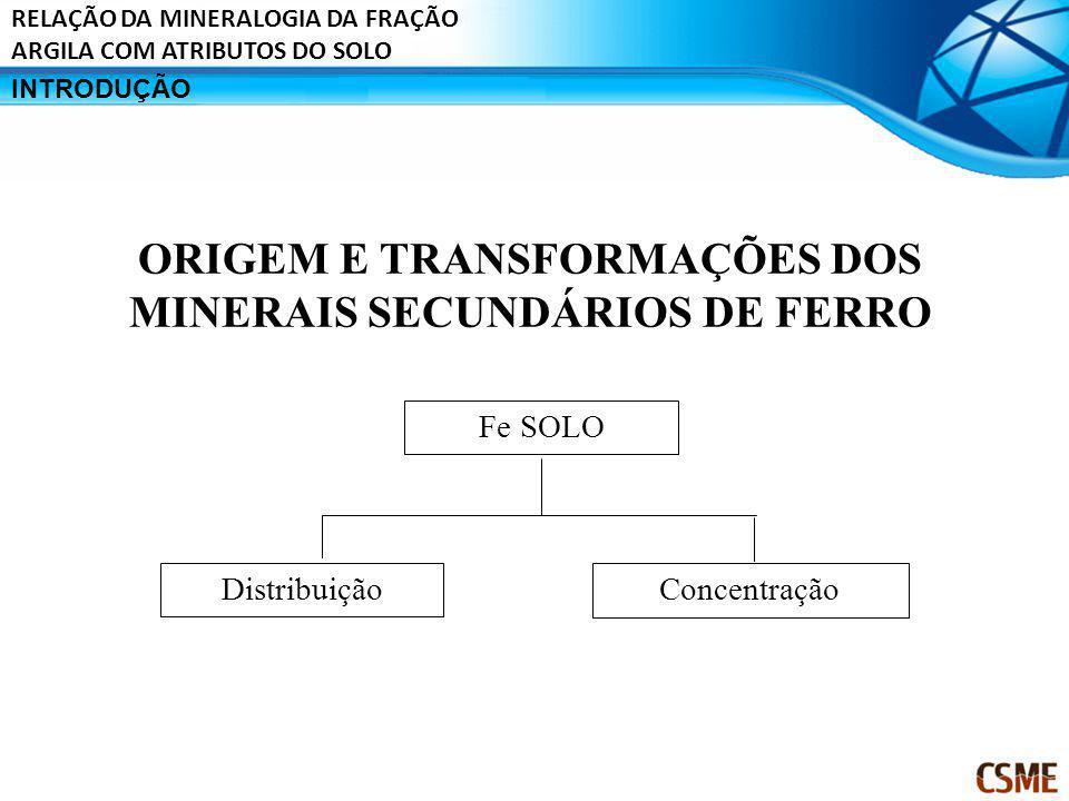 ORIGEM E TRANSFORMAÇÕES DOS MINERAIS SECUNDÁRIOS DE FERRO