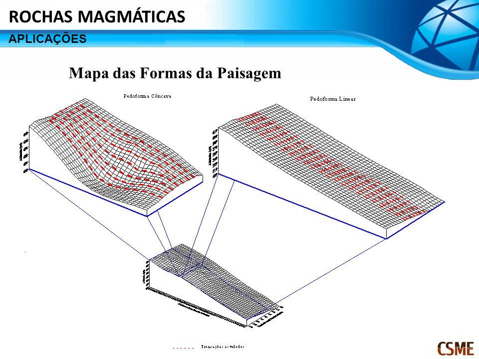 ROCHAS MAGMÁTICAS APLICAÇÕES Mapa das Formas da Paisagem