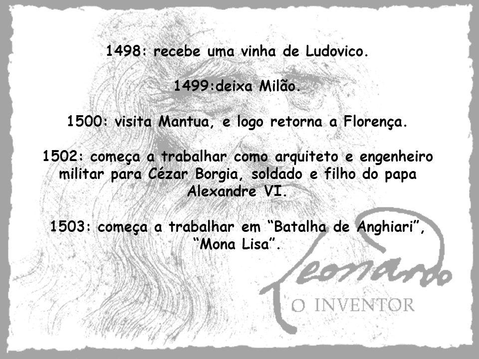 1498: recebe uma vinha de Ludovico. 1499:deixa Milão