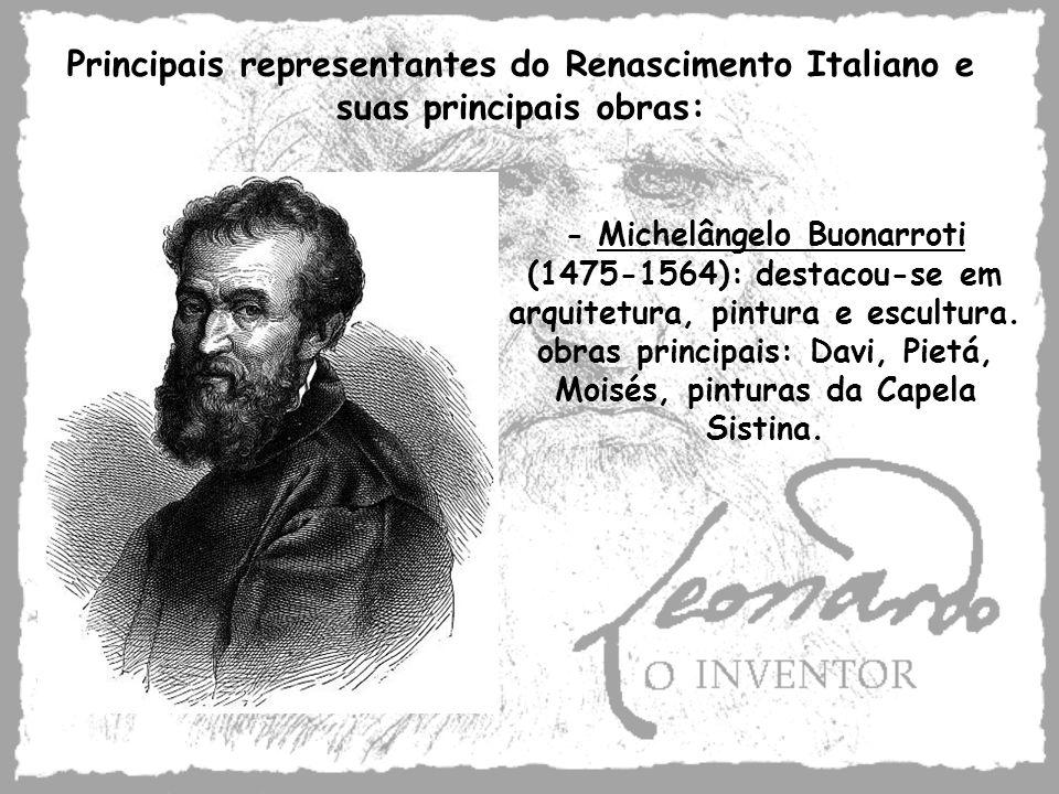 Principais representantes do Renascimento Italiano e suas principais obras: