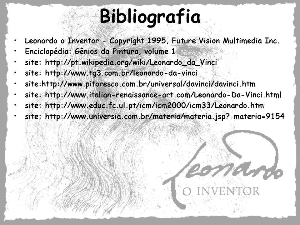 Bibliografia Leonardo o Inventor - Copyright 1995, Future Vision Multimedia Inc. Enciclopédia: Gênios da Pintura, volume 1.