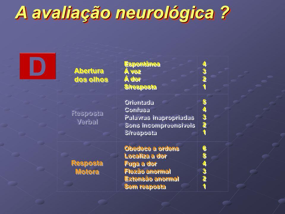 D A avaliação neurológica Abertura dos olhos Resposta Verbal