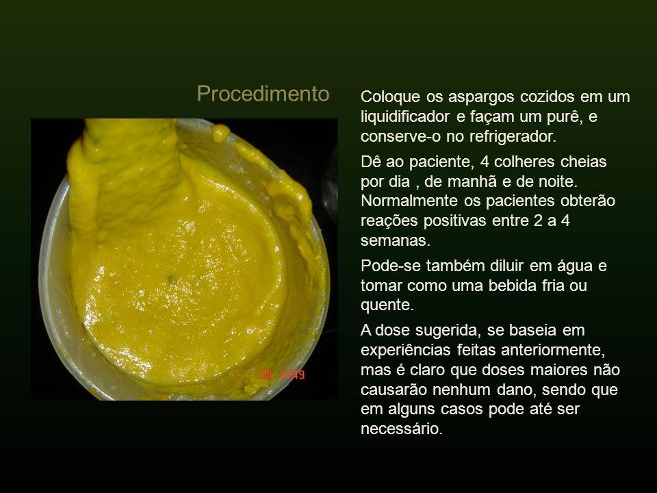 Procedimento Coloque os aspargos cozidos em um liquidificador e façam um purê, e conserve-o no refrigerador.