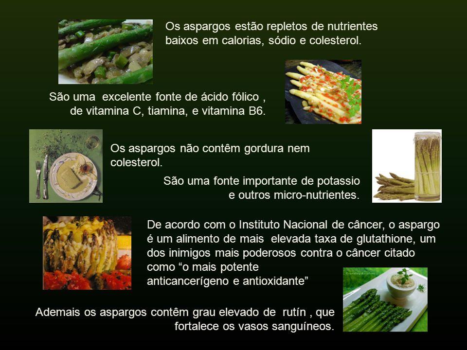 Os aspargos estão repletos de nutrientes baixos em calorias, sódio e colesterol.