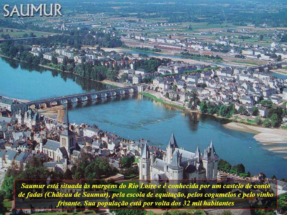 Saumur está situada às margens do Rio Loire e é conhecida por um castelo de conto de fadas (Château de Saumur), pela escola de equitação, pelos cogumelos e pelo vinho frisante.