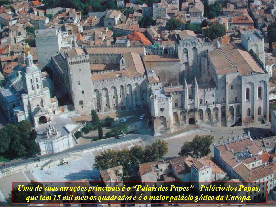 Uma de suas atrações principais é o Palais des Papes – Palácio dos Papas, que tem 15 mil metros quadrados e é o maior palácio gótico da Europa.