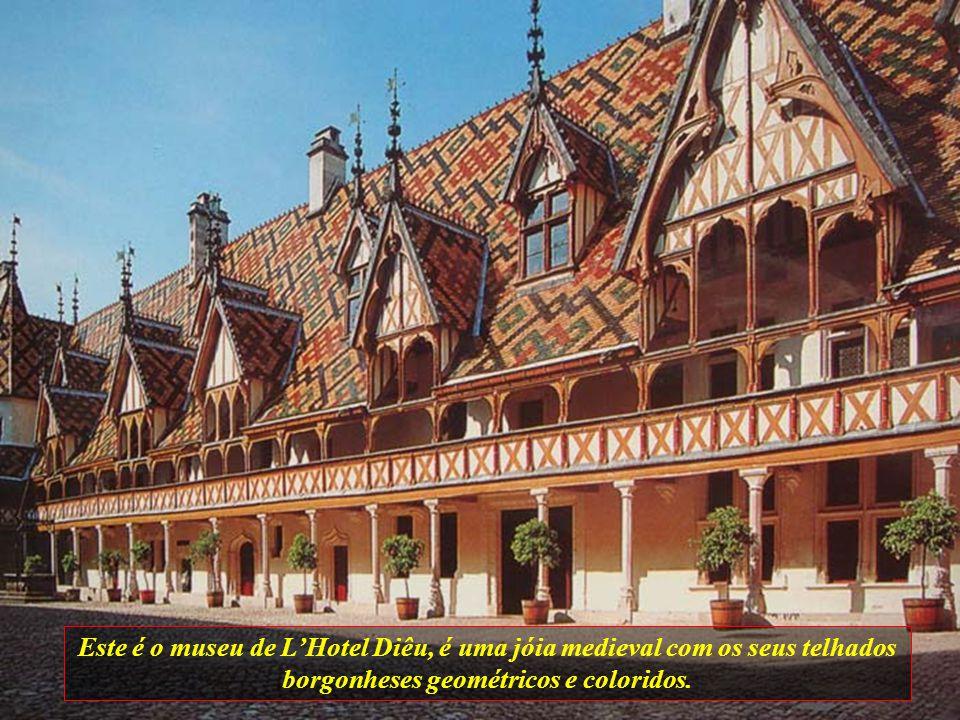Este é o museu de L'Hotel Diêu, é uma jóia medieval com os seus telhados borgonheses geométricos e coloridos.
