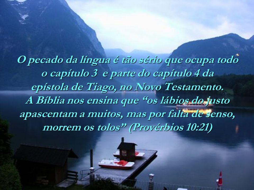 O pecado da língua é tão sério que ocupa todo o capítulo 3 e parte do capítulo 4 da epístola de Tiago, no Novo Testamento.