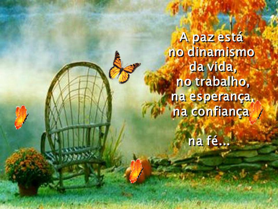 A paz está no dinamismo da vida, no trabalho, na esperança, na confiança, na fé...