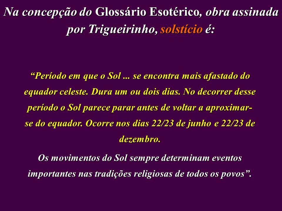 Na concepção do Glossário Esotérico, obra assinada por Trigueirinho, solstício é: