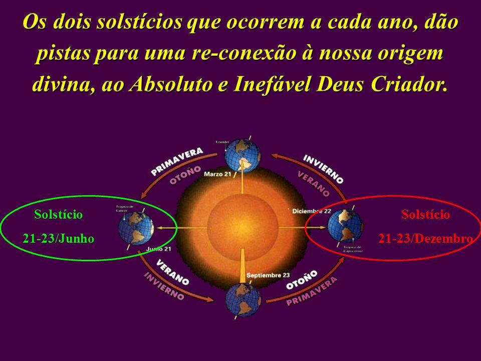 Os dois solstícios que ocorrem a cada ano, dão pistas para uma re-conexão à nossa origem divina, ao Absoluto e Inefável Deus Criador.