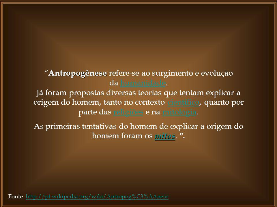 Antropogênese refere-se ao surgimento e evolução da humanidade.