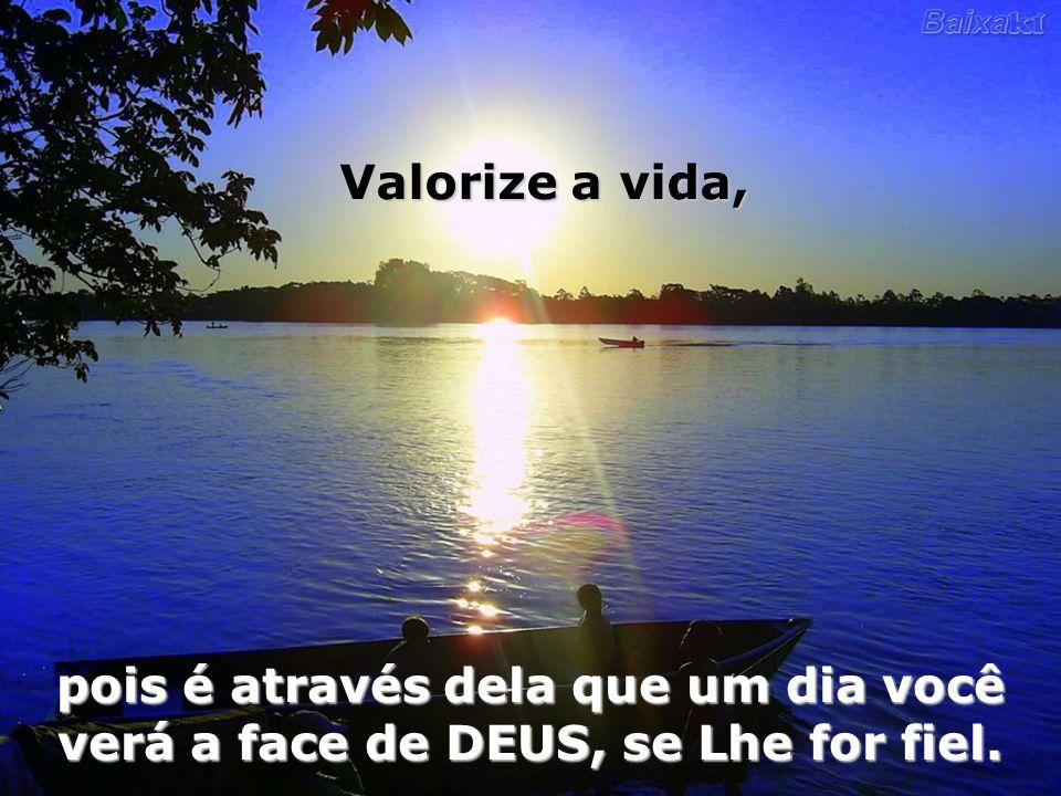 Valorize a vida, pois é através dela que um dia você verá a face de DEUS, se Lhe for fiel.