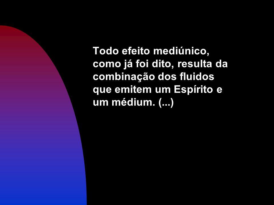 Todo efeito mediúnico, como já foi dito, resulta da combinação dos fluidos que emitem um Espírito e um médium.