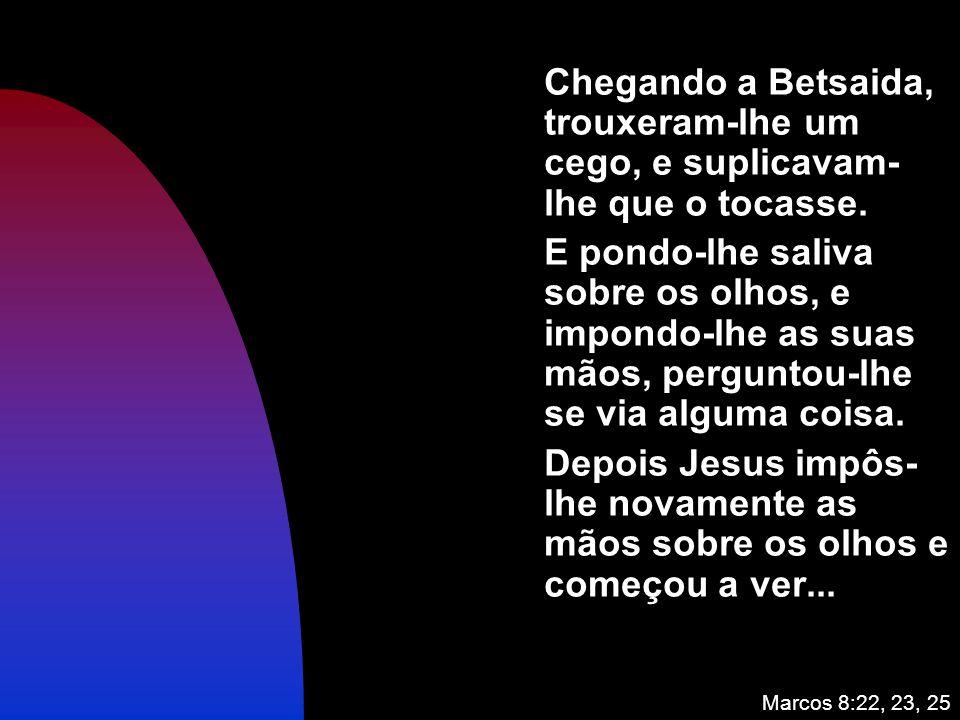 Chegando a Betsaida, trouxeram-lhe um cego, e suplicavam-lhe que o tocasse.