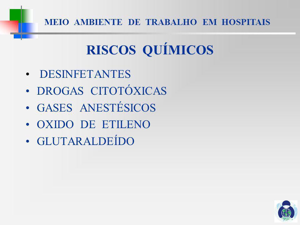 RISCOS QUÍMICOS DESINFETANTES DROGAS CITOTÓXICAS GASES ANESTÉSICOS