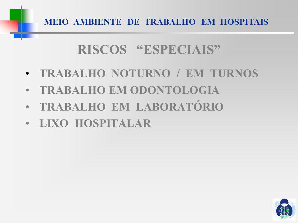 RISCOS ESPECIAIS TRABALHO NOTURNO / EM TURNOS
