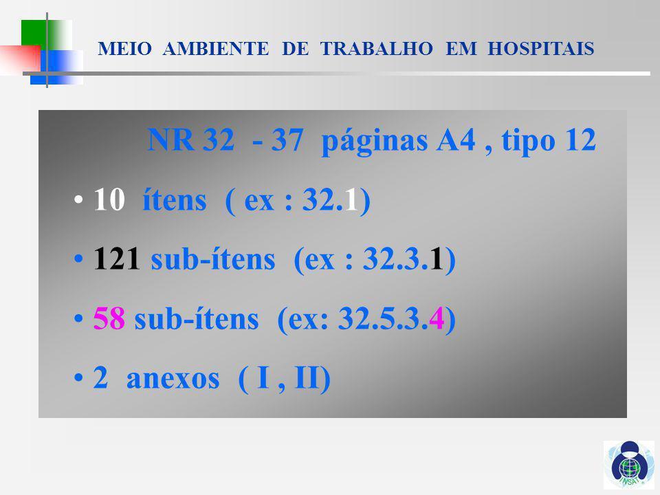 NR 32 - 37 páginas A4 , tipo 12 10 ítens ( ex : 32.1) 121 sub-ítens (ex : 32.3.1) 58 sub-ítens (ex: 32.5.3.4)