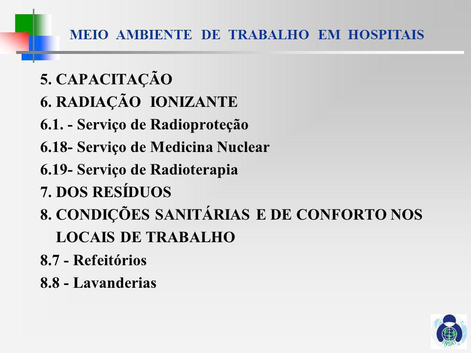 5. CAPACITAÇÃO 6. RADIAÇÃO IONIZANTE. 6.1. - Serviço de Radioproteção. 6.18- Serviço de Medicina Nuclear.
