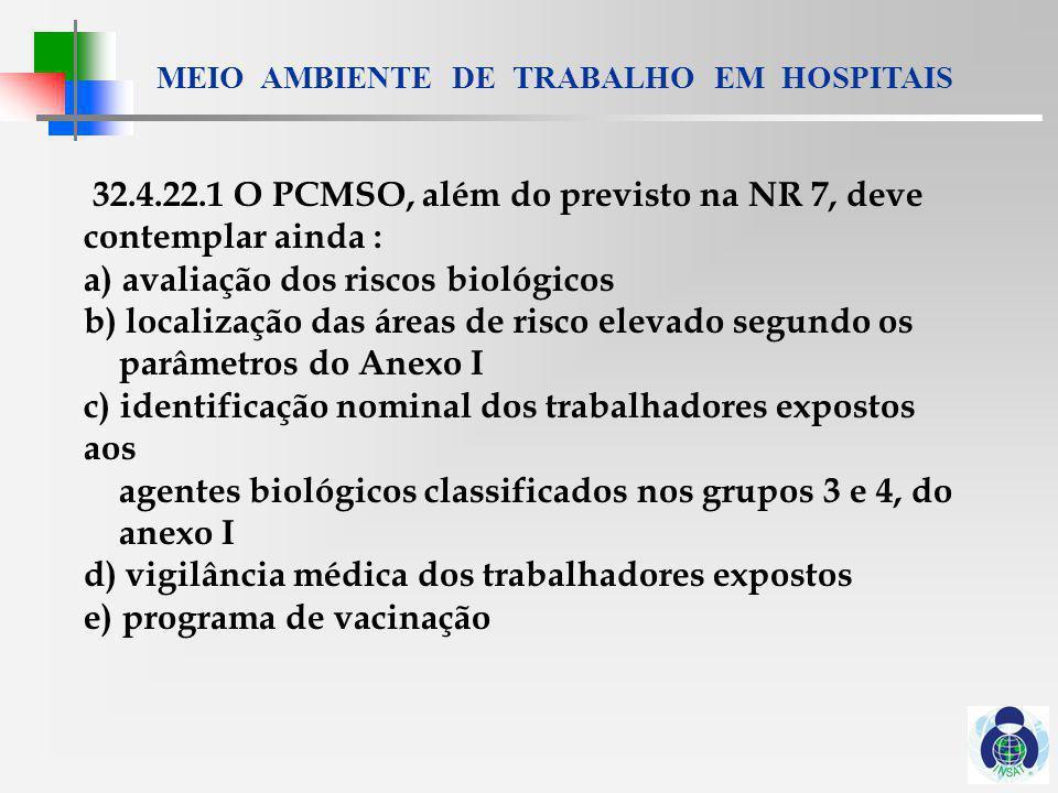 32.4.22.1 O PCMSO, além do previsto na NR 7, deve contemplar ainda :