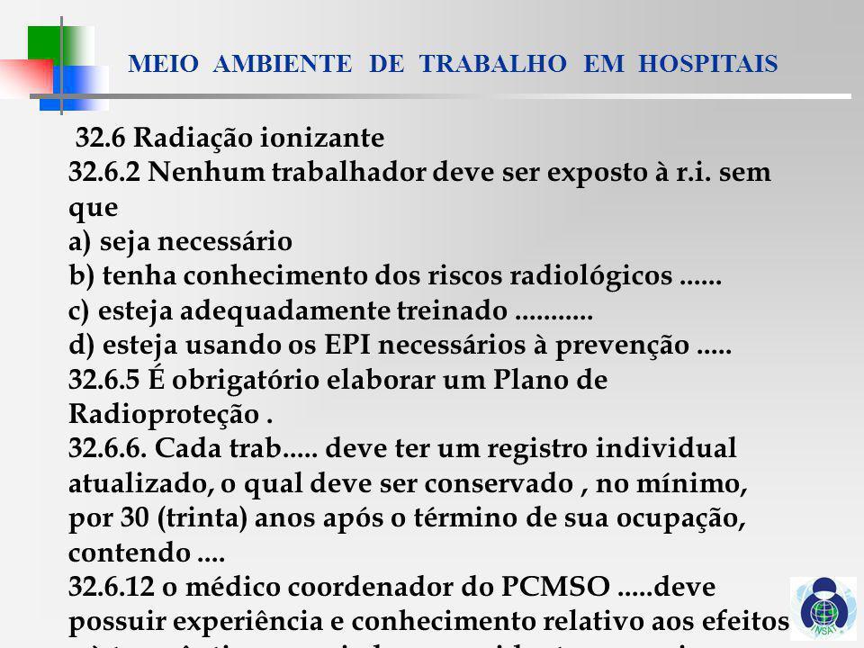 32.6 Radiação ionizante 32.6.2 Nenhum trabalhador deve ser exposto à r.i. sem que. a) seja necessário.