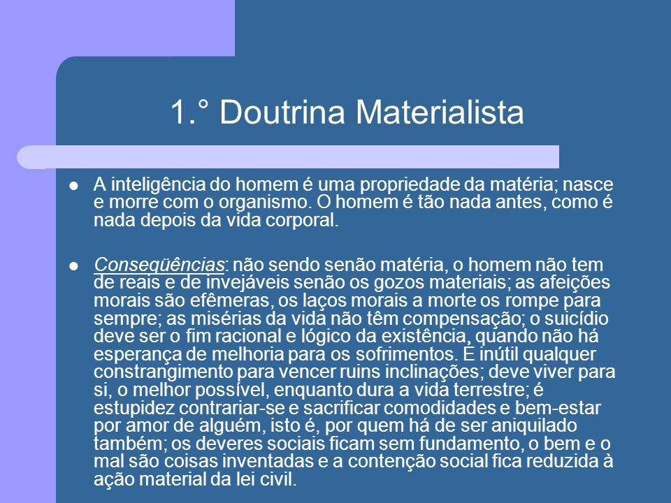 1.° Doutrina Materialista