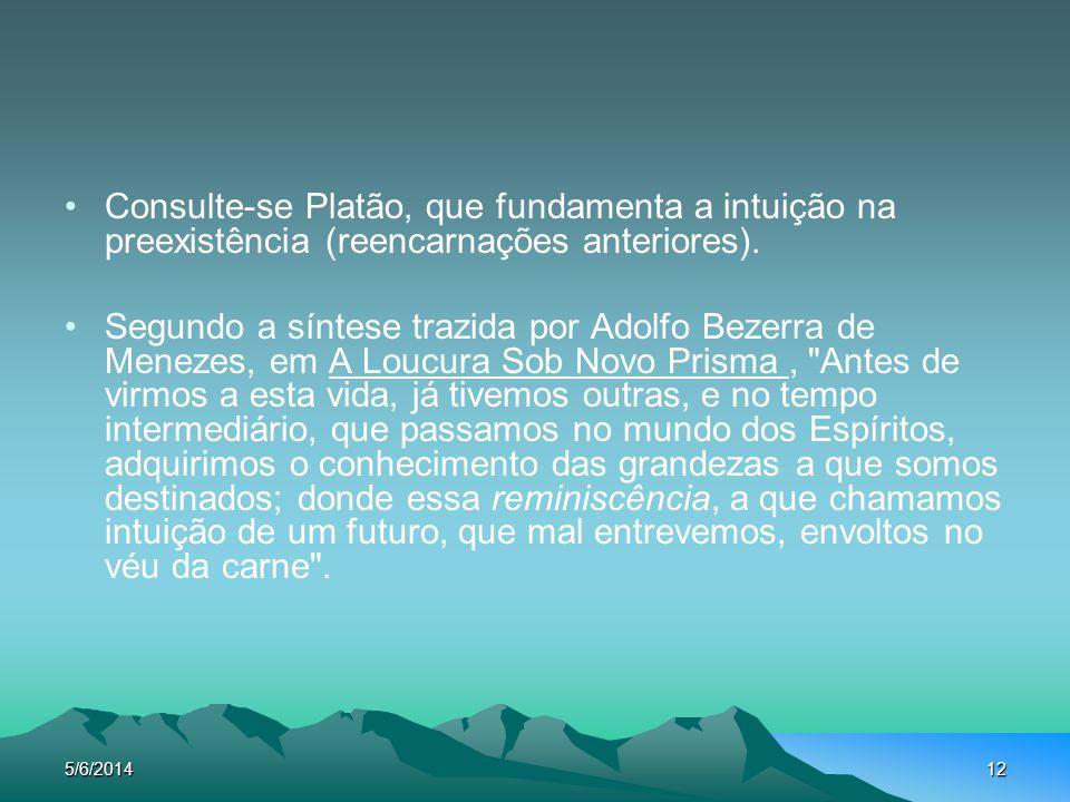 Consulte-se Platão, que fundamenta a intuição na preexistência (reencarnações anteriores).
