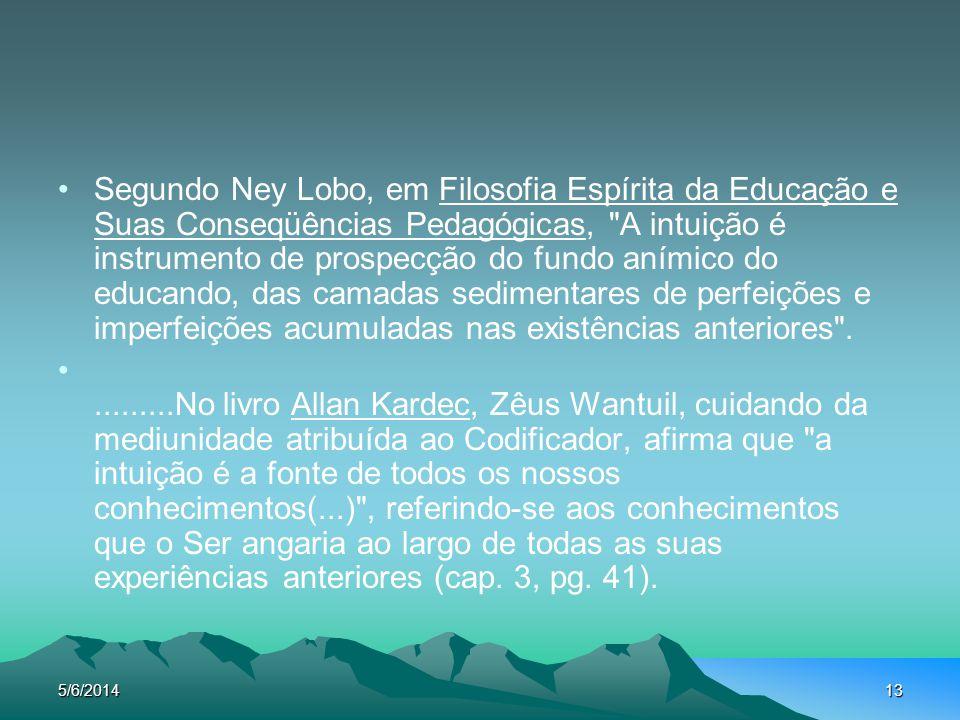 Segundo Ney Lobo, em Filosofia Espírita da Educação e Suas Conseqüências Pedagógicas, A intuição é instrumento de prospecção do fundo anímico do educando, das camadas sedimentares de perfeições e imperfeições acumuladas nas existências anteriores .