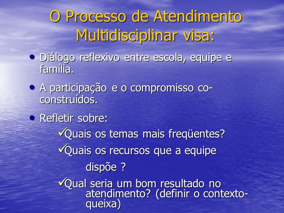 O Processo de Atendimento Multidisciplinar visa: